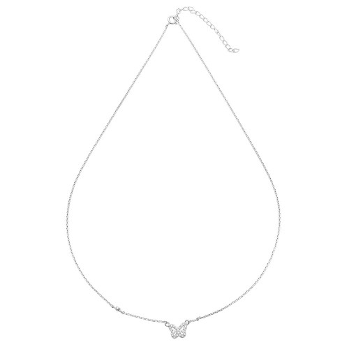 Wholesale Sterling Silver 925 Rhodium Butterfly CZ Necklace - STP01523