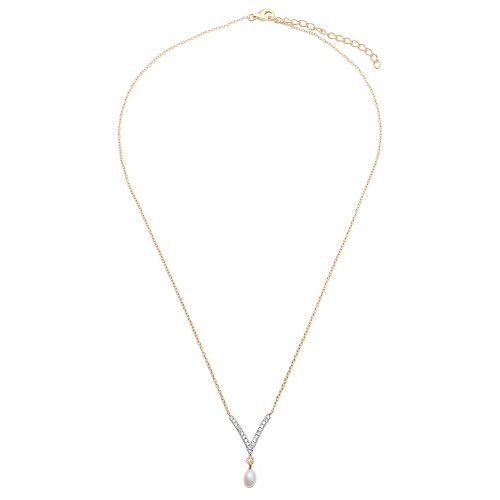 Wholesale Sterling Silver 925 Gold Plated V Shape CZ Necklace with Hanging Fresh Water Pearl - STP01525GP