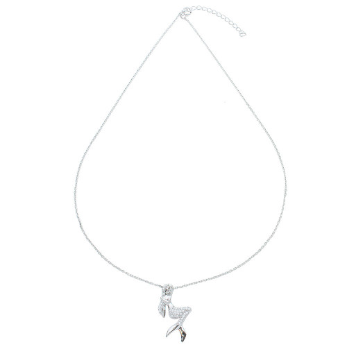 Wholesale Sterling Silver 925 Rhodium Plated CZ Mermaid Necklace - STP01526