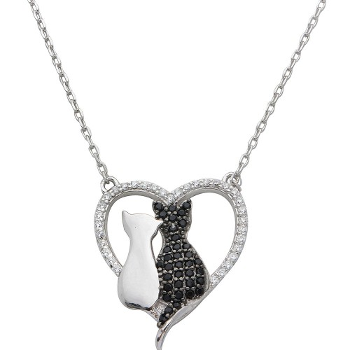 Wholesale Sterling Silver 925 Rhodium Plated CZ Open Heart with 2 Cat Necklace - STP01527