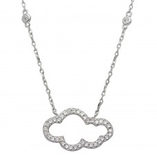 Wholesale Sterling Silver 925 Rhodium Plated CZ Encrusted Open Cloud Necklace - STP01528
