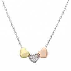 Wholesale Sterling Silver 925 3 Toned Heart Charms Necklace - STP01530