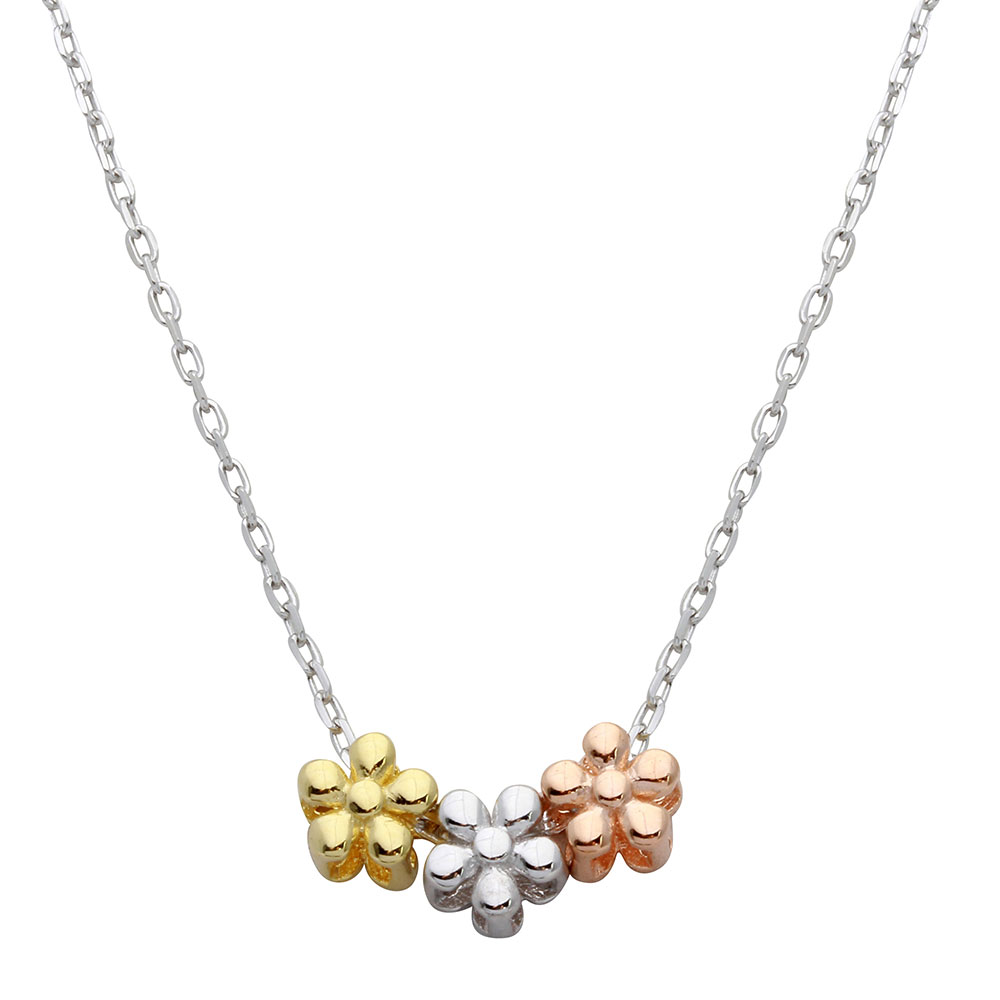 Wholesale Sterling Silver 925 3 Toned Flower Charms Necklace - STP01531
