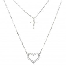 Wholesale Sterling Silver 925 Rhodium Plated Double Chain CZ Cross and CZ Open Heart Necklace - STP01532