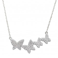 Wholesale Sterling Silver 925 Rhodium Plated Graduated CZ Encrusted Butterfly Necklace - STP01535