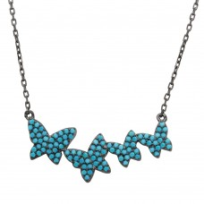 Sterling Silver Black Rhodium Plated Graduated Turquoise Stones Encrusted Butterfly Necklace - STP01535BP