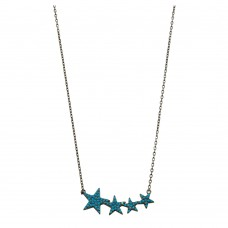 Wholesale Sterling Silver 925 Black Rhodium Plated Four Star Necklace with Turquoise CZ Stones - STP01536BP