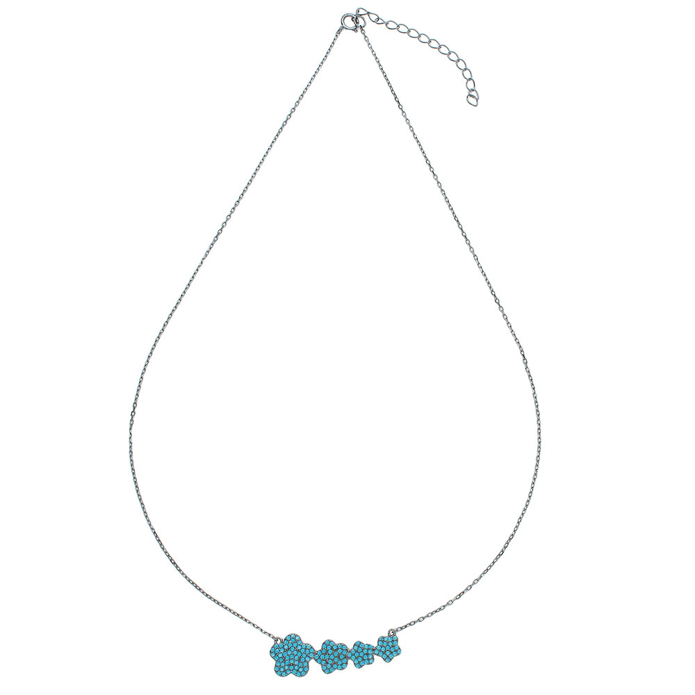 Wholesale Sterling Silver 925 Black Rhodium Plated 4 Graduated Turquoise Encrusted Flower Necklace - STP01537BP