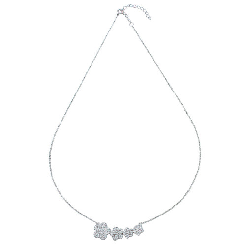 Wholesale Sterling Silver 925 Rhodium Plated 4 Graduated CZ Encrusted Flower Necklace - STP01537