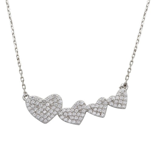 Wholesale Sterling Silver 925 Rhodium Plated 4 Graduated CZ Encrusted Heart Necklace - STP01538