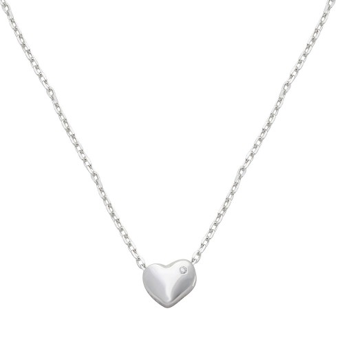 Wholesale Sterling Silver 925 Rhodium Plated Small Heart with Stone Necklace - STP01542