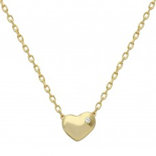 Wholesale Sterling Silver 925 Gold Plated Small Heart with Stone Necklace - STP01542GLD