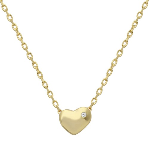 Wholesale Sterling Silver 925 Gold Plated Small Heart with Stone Necklace - STP01542GP