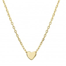 Wholesale Sterling Silver 925 Gold Plated Small Heart Necklace - STP01543GP