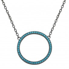 Sterling Silver Black Rhodium Plated Open Circle Turquoise Encrusted Necklace - STP01547BP