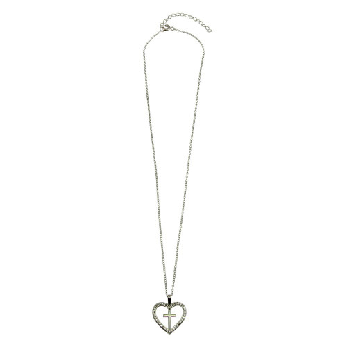 Wholesale Sterling Silver 925 Heart and Cross Necklace with CZ - STP01555