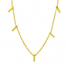 Wholesale Sterling Silver 925 Gold Plated Small Multi Bar Necklace - STP01557GP