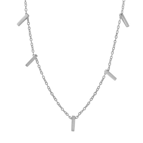 Wholesale Sterling Silver 925 Rhodium Plated Small Multi Bar Necklace - STP01557RH