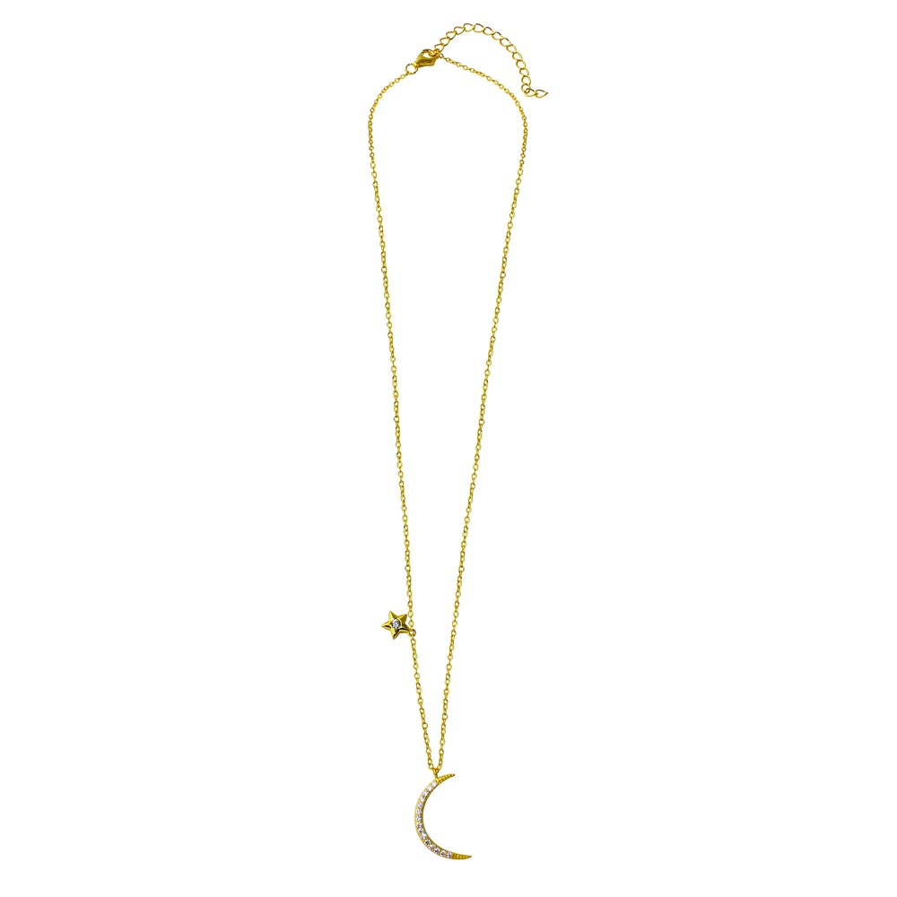 Wholesale Sterling Silver 925 Gold Plated CZ Star and Crescent Moon Necklace - STP01558GP