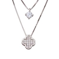 Sterling Silver Rhodium Plated Double Strand Round CZ & CZ Clover Necklace - STP01559RH
