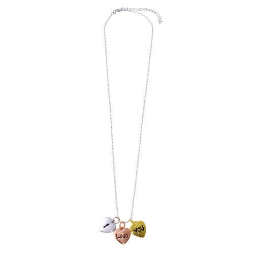 Wholesale Sterling Silver 925 Tri-Color Plated I Love YOU Heart Necklace - STP01560TRI