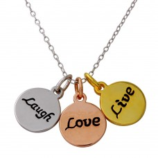 Wholesale Sterling Silver 925 Tri-Color Plated Live Laugh Love Circle Necklace - STP01561TRI