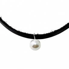 Black Leather Cord Choker with Synthetic Pearl - STP01562RH
