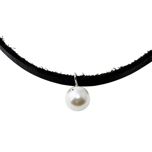 Wholesale Black Leather Cord Choker with Synthetic Pearl - STP01562RH