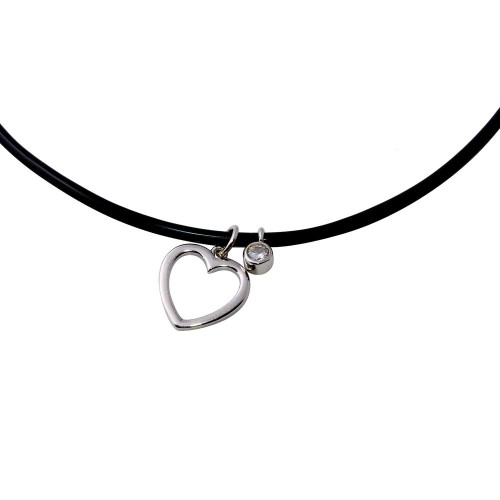 Wholesale Sterling Silver 925 Rhodium Plated Rubber Cord Choker with Round CZ and Open Heart - STP01566RH