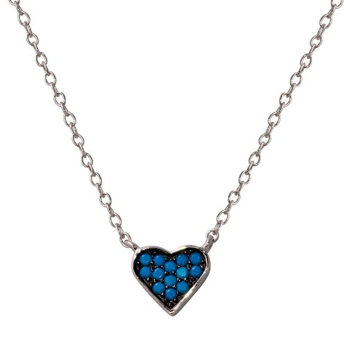 Wholesale Sterling Silver 925 Rhodium Plated Heart Necklace with Turquoise Beads - STP01568XP