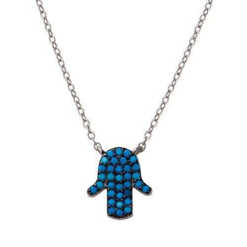 Wholesale Sterling Silver 925 Rhodium Plated Hamsa Necklace with Turquoise Beads - STP01569XP