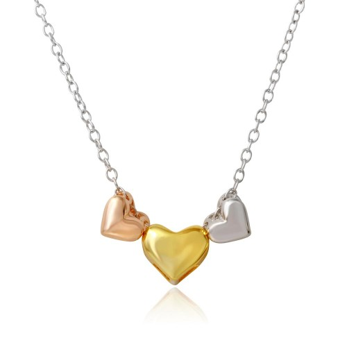 Wholesale Sterling Silver 925 Tri Color Plated Three Heart Necklace - STP01570TRI