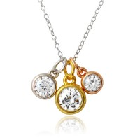Wholesale Sterling Silver 925 Tri Color Plated Three Round CZ Necklace - STP01573TRI