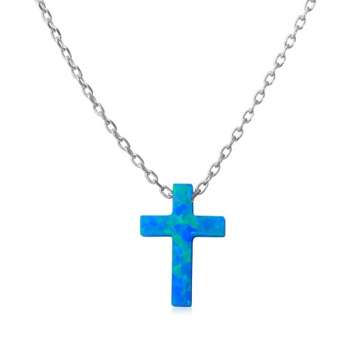 Wholesale Sterling Silver 925 Rhodium Plated Blue Synthetic Opal Cross Necklace - STP01574RH