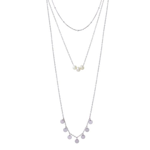 Wholesale 925 Sterling Silver Rhodium Plated Triple Strand Bead Fresh Water Pearl and Circle Confetti Necklace - STP01576RH
