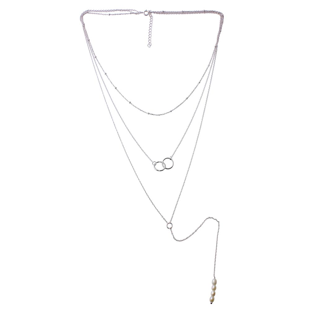 Wholesale 925 Sterling Silver Rhodium Plated Triple Strand Bead Interlocked Rings and Fresh Water Pearl Necklace - STP01577RH