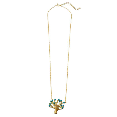 Wholesale Sterling Silver 925 Gold Plated Tree Necklace with Turquoise Beads - STP01583GP