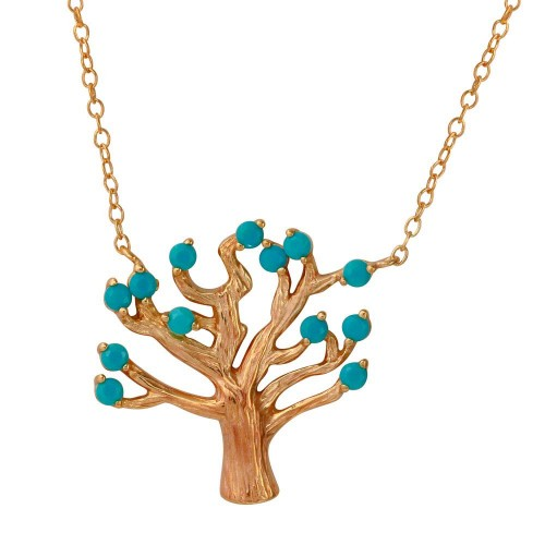 Wholesale Sterling Silver 925 Rose Gold Plated Tree Necklace with Turquoise Beads - STP01583RGP