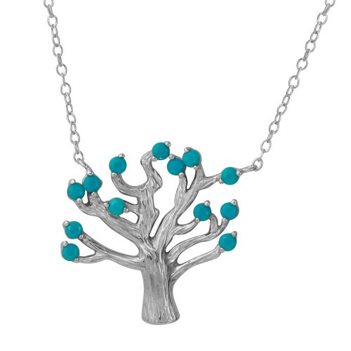 Wholesale Sterling Silver 925 Rhodium Plated Tree Necklace with Turquoise Beads - STP01583RH