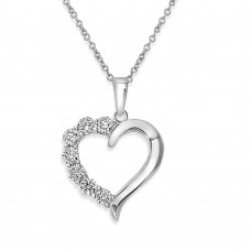 Sterling Silver Rhodium Plated Open CZ Heart Necklace - STP01584