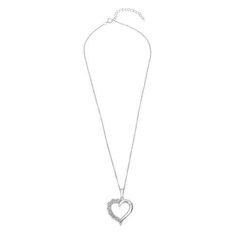 Wholesale Sterling Silver 925 Rhodium Plated Open CZ Heart Necklace - STP01584