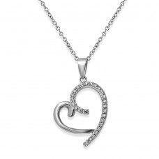 Sterling Silver Rhodium Plated Curved Open Heart CZ Necklace - STP01585
