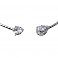 Wholesale Sterling Silver 925 Rhodium Plated Heart and Pear Micro Pave Collar Necklace - STP01587RH