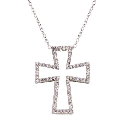 Wholesale Sterling Silver 925 Rhodium Plated Open Cross Necklace with CZ - STP01597