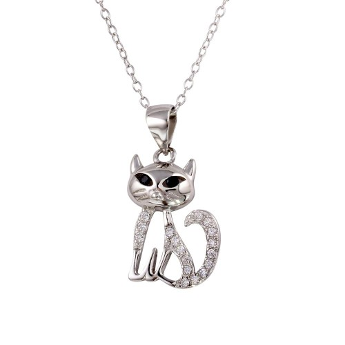 Wholesale Sterling Silver 925 Rhodium Plated Small Cat Pendant with CZ - STP01599