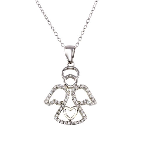 Wholesale Sterling Silver 925 Rhodium Plated Clear Angel Heart Pendant with CZ - STP01600