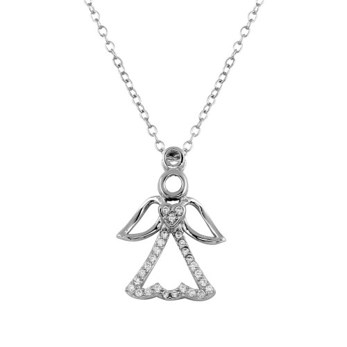 Wholesale Sterling Silver 925 Rhodium Plated Small Angel Heart Pendant with CZ - STP01601