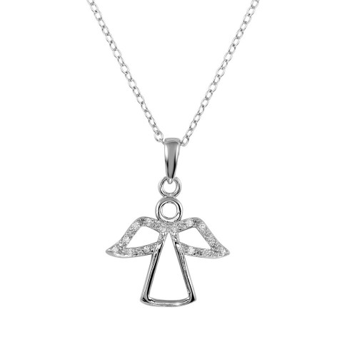 Wholesale Sterling Silver 925 Rhodium Plated Small Angel Pendant with CZ - STP01602