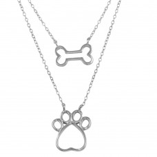 Wholesale Sterling Silver 925 Rhodium Plated Two Piece Dog Bone and Paw Necklace - STP01603