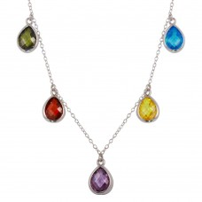 Wholesale Sterling Silver 925 Rhodium Plated Multi-Colored Teardrop Necklace - STP01605